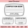 Composition Book SVG, Notebook Label SVG, Tumbler Label SVG, Notebook Cover SVG