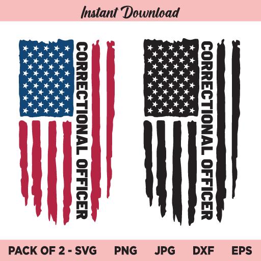 Correctional Officer Flag SVG, Correctional Officer USA Flag SVG, PNG, DXF, Cricut, Cut File, Clipart