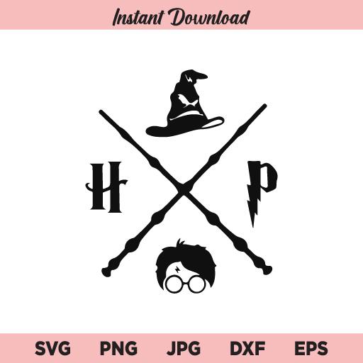 Magic Wand Symbol SVG, Harry Potter SVG, Wizard School SVG, PNG, DXF, Cricut, Cut File, Clipart, Silhouette
