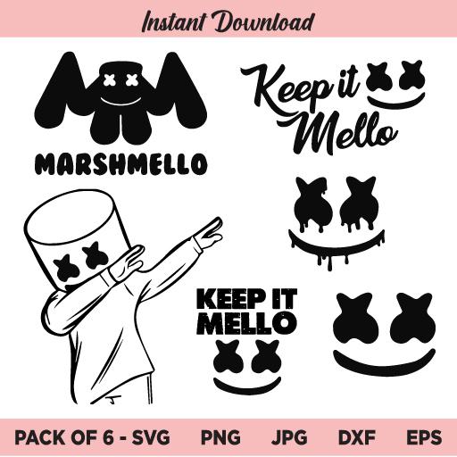 Marshmello SVG, Dj Marshmello Face SVG, Mello SVG, Marshmallow SVG,
