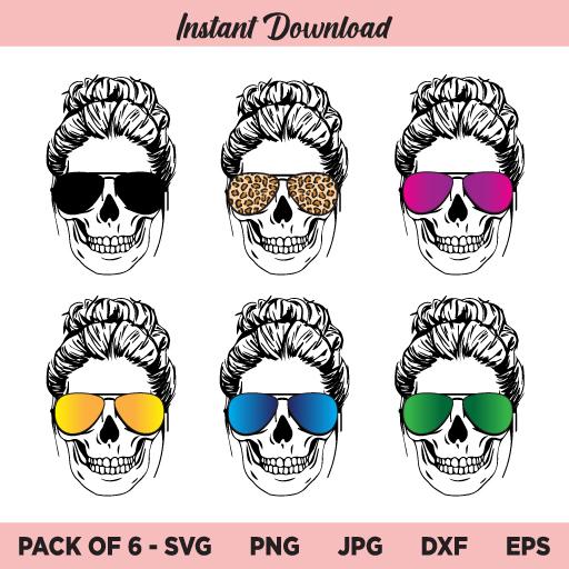 Mom Skull SVG, Messy Bun SVG, Skull with Glasses SVG, Mom life SVG, Momlife Skull SVG, PNG, DXF, Cricut, Cut File, Clipart