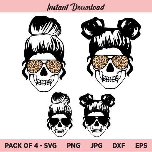 Leopard Mom Skull SVG, Mom life SVG, Messy Bun Skull SVG, PNG, DXF, Cricut, Cut File, Clipart, Silhouette