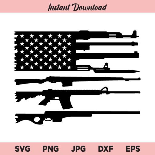 American Gun Flag SVG, Gun Rifles American Flag SVG, Gun Flag SVG, PNG, DXF, Cricut, Cut File, Clipart, Silhouette
