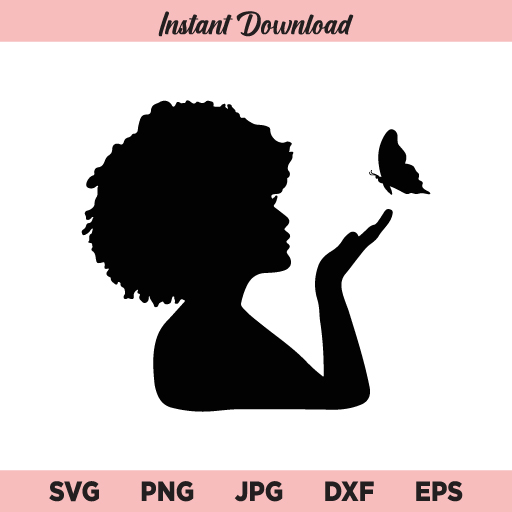 Afro Woman With Butterfly SVG, Afro Woman SVG, Butterfly SVG, PNG, DXF, Cricut, Cut File, Clipart