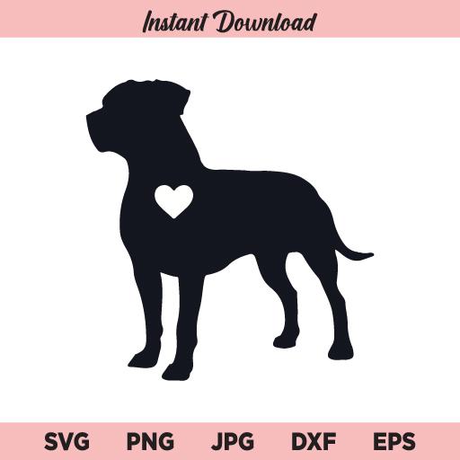 American Pitbull With Heart SVG, Pitbull SVG, Pitbull Heart SVG, PNG, DXF, Cricut, Cut File, Clipart