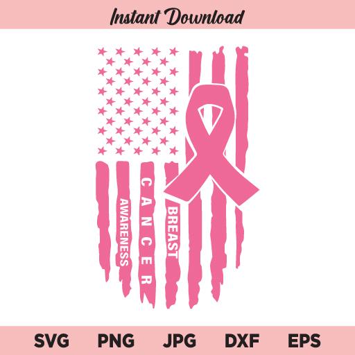 US Cancer Flag SVG, Pink Ribbon USA Flag SVG, Breast Cancer Awareness SVG, PNG, DXF, Cricut, Cut File, Clipart