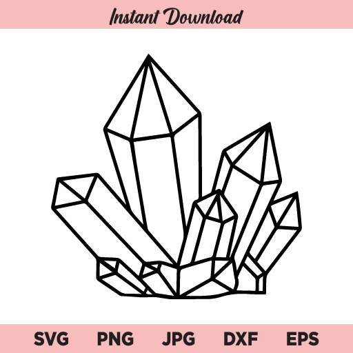 Crystals SVG, PNG, DXF, Cricut, Cut File, Clipart, Silhouette, Vector