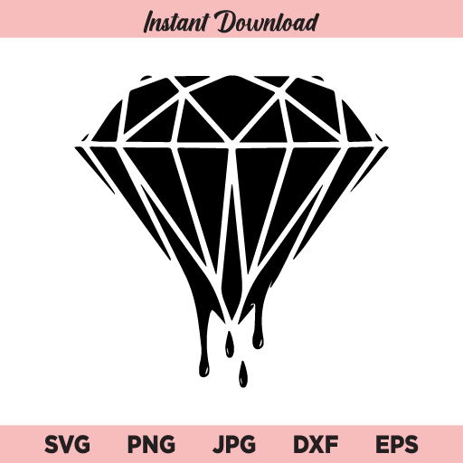 Dripping Diamond SVG, PNG, DXF, Cricut, Cut File, Clipart, Silhouette