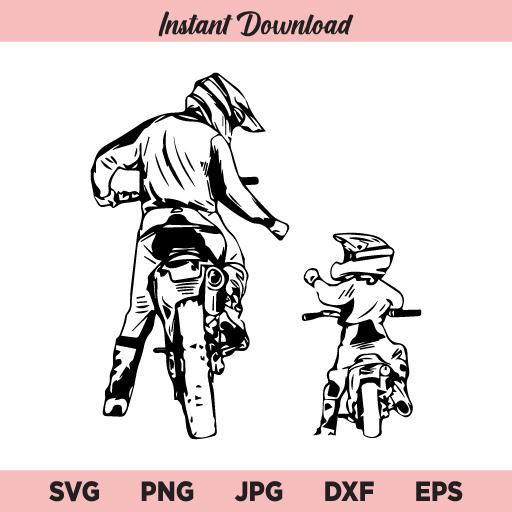 Dad and Son Biker SVG, Father and Son SVG, Biker SVG, Dad Dirt Bike Rider SVG, PNG, DXF