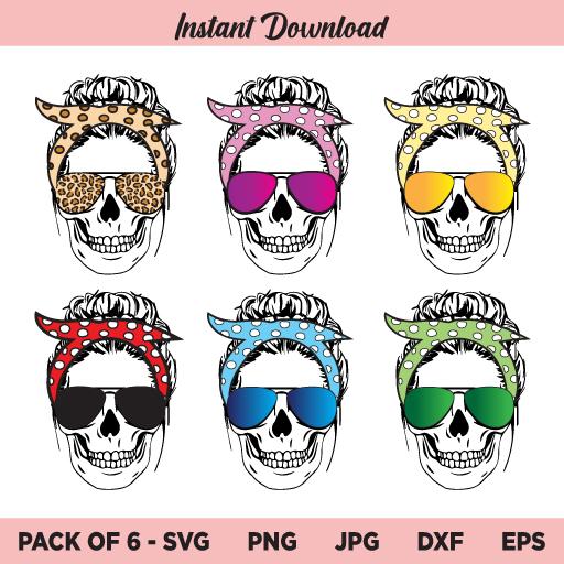 Mom Skull Bandana SVG, Messy Bun Skull SVG, Momlife Skull SVG, PNG, DXF, Cricut, Cut File, Clipart