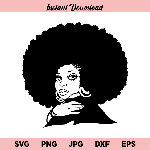 Afro Woman Focsi SVG, Focsi Lady with Afro Puffs SVG, Focsi Woman With an Afro SVG, Focsi Woman SVG, PNG, DXF, Cricut, Cut File, Clipart
