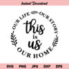 This Is Us, Our Life, Our Story, Our Home SVG, PNG, DXF, Cricut, Cut File, Clipart, Instant Download