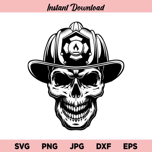 Firefighter Skull SVG, Firefighter, Firefighter Logo, Firefighting Rescue, Fireman Fighting Fire Skull Helmet, SVG, PNG, DXF