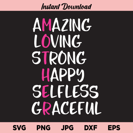 Mother Amazing Loving Strong SVG, Mother's Day SVG, Mama, Mother, Mom, Definition, SVG