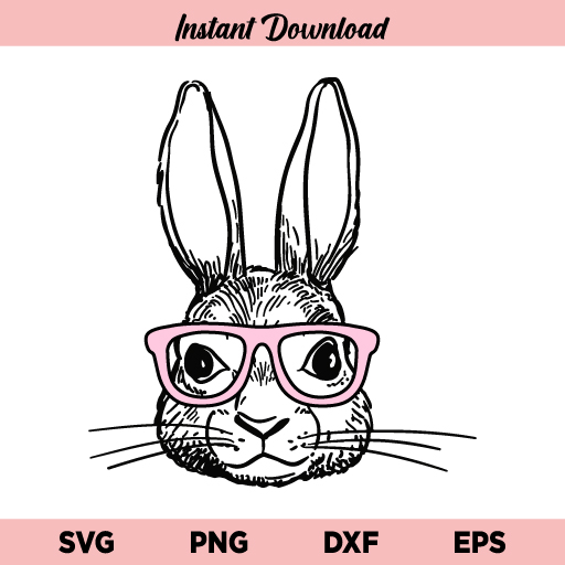 Bunny With Glasses SVG, Easter Bunny With Glasses SVG, Bunny With Glasses SVG File, Easter Bunny SVG, Glasses SVG, Rabbit SVG, Easter, Bunny With Glasses, SVG, PNG, DXF