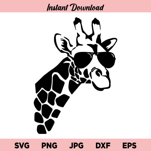 Giraffe With Sunglasses SVG, Giraffe With Glasses SVG, Cool Giraffe SVG, Giraffe Sunglasses SVG, Giraffe, Giraffe Face, Aviators, Sunglasses, SVG, PNG, DXF, Cricut, Cut File