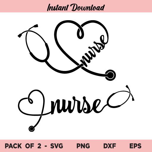 Nurse Heart Stethoscope SVG, Heart Stethoscope SVG, Nurse SVG, Heart SVG, Stethoscope SVG, Nursing SVG, Nurse Heart Stethoscope, SVG, PNG, DXF, Cricut, Cut File