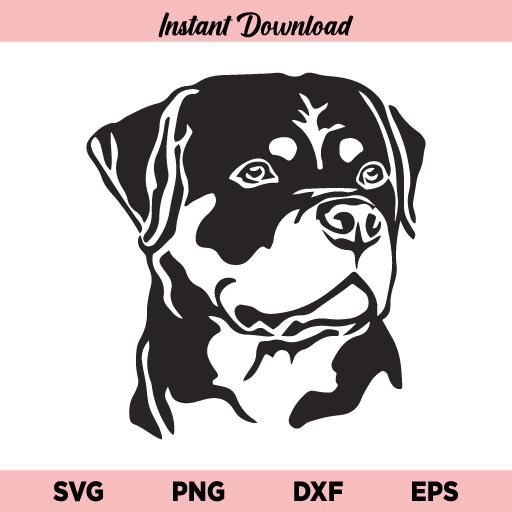 Rottweiler Dog SVG, Rottweiler SVG, Dog SVG, Rottweiler Dog Silhouette SVG, Rottweiler Face SVG, Rottweiler Head SVG, Rottweiler Dog, Rottweiler, SVG, PNG, DXF, Cricut, Cut File
