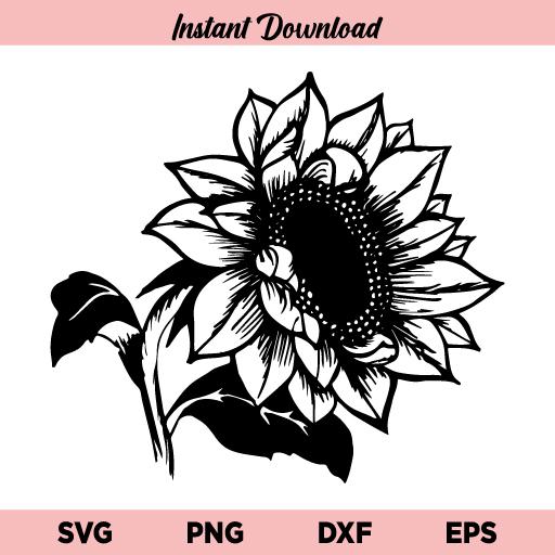 Sunflower SVG, Sunflower SVG File For Cricut, Floral SVG, Sunflower Clipart, Flower SVG, Sunflower Template, Sunflower, SVG, PNG, DXF, Cut File