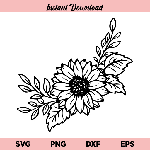 Floral Sunflower SVG, Sunflower With Leaves SVG, Sunflower Floral Border SVG, Wild Flower Sunflower SVG, Sunflower Frame SVG, Sunflower SVG, Floral SVG, Flower SVG, PNG, DXF, Cricut, Cut File