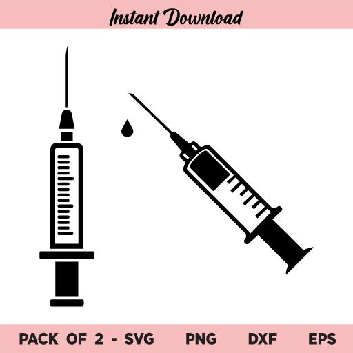 Vaccination Syringe SVG, Hypodermic Syringe SVG, Syringe SVG, Vaccine SVG, Syringe Outline SVG, PNG, DXF, Cricut, Cut File