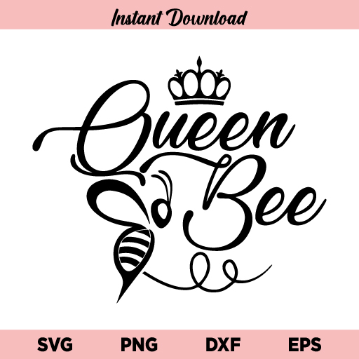 Queen Bee SVG, Queen Bee SVG Cut File, Queen Bee Crown SVG File Design, Bee SVG, Queen Bee, SVG, PNG, DXF, Cricut, Cut File, Clipart