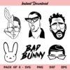 Bad Bunny SVG, Bad Bunny SVG File, El Conejo Malo SVG, Bad Bunny SVG Cut File, Bad Bunny Face SVG, Bad Bunny, SVG, PNG, DXF, Cricut, Cut File