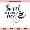 Sweet As Can Bee SVG, Sweet As Can Bee SVG Cut File, Bee SVG, Babyshower, Newborn, Toddler, Bumble Bee, Sweet As Can Bee, SVG, PNG, DXF, Cricut, Cut File