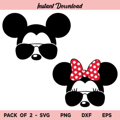 Mickey and Minnie with Aviator Sunglasses SVG, Mickey and Minnie with Aviator Sunglasses SVG Cut File, Mickey Mouse SVG, Minnie Mouse SVG, Aviator Sunglasses SVG, PNG, DXF, Cricut, Cut File