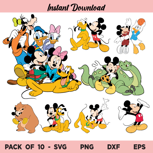 Mickey Mouse and Friends SVG, Mickey and Friends SVG Bundle, Mickey Mouse Friends SVG, Mickey SVG, Minnie SVG, Donald Duck SVG, Goofy SVG, Mickey Mouse SVG, Mickey Friends SVG, Disney Trip SVG, PNG, DXF, Cricut, Cut File