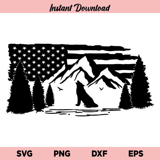 Mountain Wolf US Flag SVG, Wolf US Flag SVG, Wolf SVG, US Flag SVG, Wolf Mountain and Tree SVG, Camping, Adventure, Hunting, Nature, Mountain Wolf US Flag, SVG, PNG, DXF, Cricut, Cut File