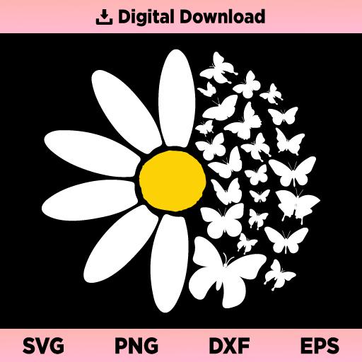 Daisy SVG, Daisy With Butterflies SVG, Daisy butterfly SVG, Simple Daisy SVG, Daisy Flower SVG, Daisy SVG File, Butterfly SVG