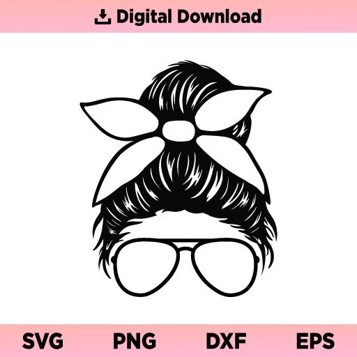 Messy Bun SVG, Sunglasses SVG, Messy Bun Sunglasses SVG, Messy Bun SVG File, Sunglasses SVG File, Messy Bun Sunglasses SVG File, PNG, DXF, Cricut, Cut File, Clipart