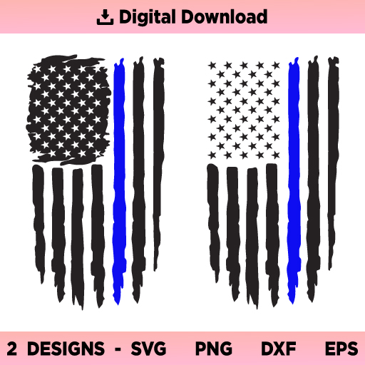 Police Flag SVG, Back The Blue SVG, Thin Blue Line Distressed US Flag SVG, Police SVG, Police Officer SVG, Police Wife SVG, PNG, DXF, Cricut, Cut File, Clipart