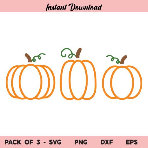 Pumpkin Outline SVG, Fall Pumpkin SVG, Pumpkin SVG, Three Pumpkin SVG, Halloween Pumpkin SVG, Thanksgiving SVG, Autumn SVG, Fall Shirt SVG