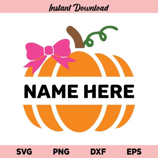 Girl Pumpkin Split Monogram SVG, Girl Pumpkin SVG, Girl Halloween SVG Pumpkin with Bow SVG, Baby Girl Bow Pumpkin SVG, Kids Pumpkin SVG, Fall, Girl, Pumpkin, Bow, Monogram SVG, PNG, DXF, Cricut, Cut File