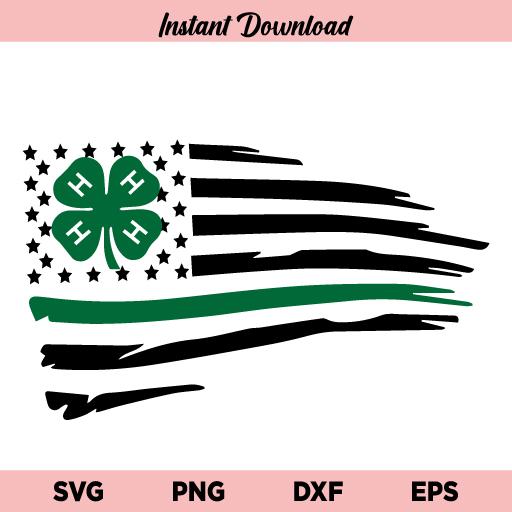 4 H Clover Distressed US Flag SVG, 4 H Clover Flag SVG, 4 H Flag SVG, 4 H Clover SVG, Distressed US Flag SVG, American Flag SVG