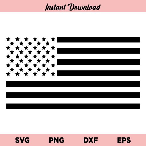 US Black Flag SVG, Black American Flag SVG, July 4th SVG, Happy Independence Day SVG, Patriotic Flag SVG, USA Flag SVG, Black and White US Flag SVG