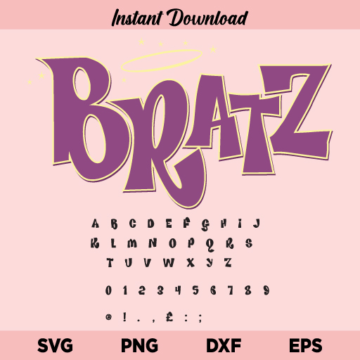 Bratz Font SVG, Bratz Alphabet SVG, Bratz SVG, Bratz Font Bundle SVG, Bratz Letters SVG, PNG, DXF, Cricut, Cut File