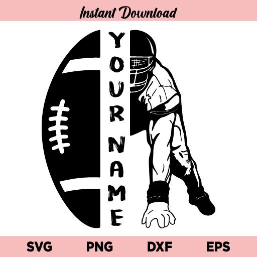 Half Football Half Player SVG, Football Player SVG, Football Half Player SVG, Football Name SVG, Football SVG, Half Football Player SVG File, Football, Player, Your Name, Customizable, Custom, SVG, PNG, DXF, Cricut, Cut File