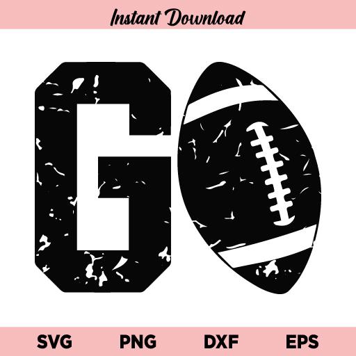 Go Football SVG, Go Distressed Football SVG File, Go Football SVG Design, Go SVG, Football SVG, Distressed Football SVG, PNG, DXF, Cricut, Cut File