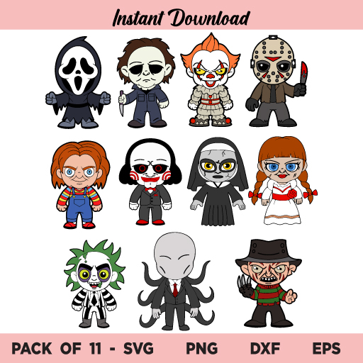 Halloween Movie Characters SVG, Halloween Characters SVG, Horror SVG, Horror Baby SVG, Halloween SVG Characters, Sally, Jack, Jason, Freddy, Pennwise, Mike M, Chucky, Reaper, Halloween Kids SVG, PNG, DXF, Cricut, Cut File