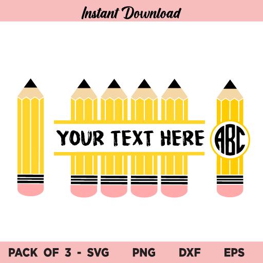 Pencil Monogram SVG, Pencil Name Frame SVG, Pencil Split Monogram SVG, School SVG, Teacher SVG, Back to School SVG, Pencil Monogram SVG Bundle, Monogram Frame, Name Frame, SVG, PNG, DXF, Cricut, Cut File
