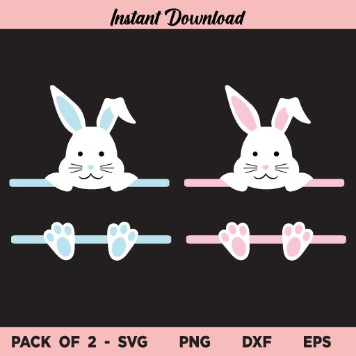 Easter Bunny Ears Split Monogram SVG, Easter Bunny Monogram SVG, Easter Bunny SVG, Bunny Ears SVG, Split Monogram SVG, Monogram SVG